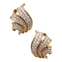 Oscar Heyman 18 kt two tones gold cocktail earrings with 6,72 Cts in VS diamonds
