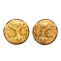Liu Fang Hong Kong 22 kt earrings with genuine ancient Tang Dynasty 618-906 AD Foo-Dogs in 24 kt