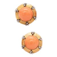 Italian mid-century 1950's coral earrings in 18 kt yellow gold with 1.08 Cts diamonds