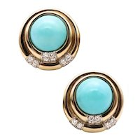 Charles Turi New York 18 kt white gold clip earrings with 25.94 Cts in diamonds & turquoises