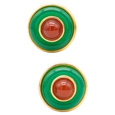 Tiffany & Co. 1970 by Donald Claflin 18 kt earrings with Chrysoprase and Carnelian