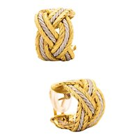 Buccellati Milano large hoops earrings in woven textured 18 kt yellow & white gold