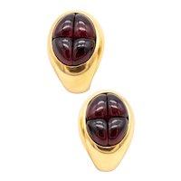 Pomellato Milan 18 kt gold earrings with 8 Ctw in Rhodolite red garnets