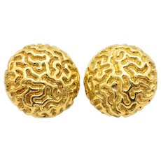 Nicholas Varney buttons clips-earrings in 18 kt textured yellow gold