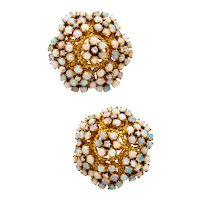 Spritzer & Furhmann 1960's vintage earrings in 18 kt with 6.91 Ctw of diamonds and opal