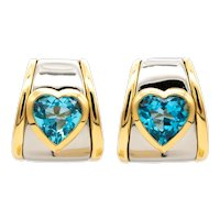 Marina B. Milan 18 kt gold earrings with 10.55 Ctw hearts shaped topaz