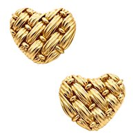 Tiffany & Co. NYC signature series woven heart earrings in 18 kt yellow gold