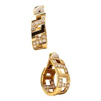 Cartier Paris 18 kt gold Etruscan earrings hoops with 2.88 Cts in VS diamonds