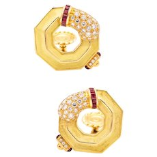 Chaumet Paris 18 kt gold earring with 2.80 Cts in VS diamonds and rubies