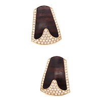 Paul Binder Swiss clips-earrings in 18 kt yellow gold with ebony wood and 2.04 cts in diamonds