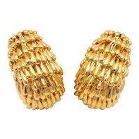 David Webb 1970 New York 18 kt yellow gold textured earrings clips