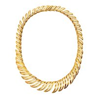 Cartier 1950 Paris by Andre Vassort rare Piume necklace in 18 kt textured yellow gold