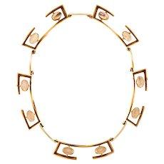 John Victor Rørvig 1965 geometric necklace in 14 kt with Moonstones gemstones