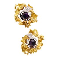 Emil Meister 1960 Zurich 18 kt yellow gold & Palladium earrings with 21.12 Cwt. in diamonds & amethyst