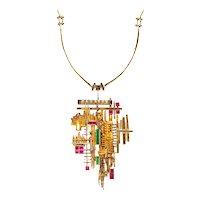 Arnaldo Pomodoro 1963 Geometric sculptural necklace in 18 kt gold with gemstones