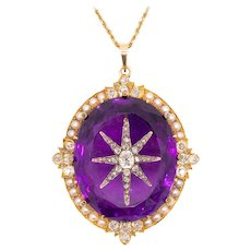 Victorian 1870 Extraordinary Star motif pendant with 97.02 Ctw inlaid diamonds amethyst & pearls