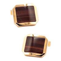 Cartier Paris modern Santos cufflinks in 18 kt yellow gold with tiger eye quartz