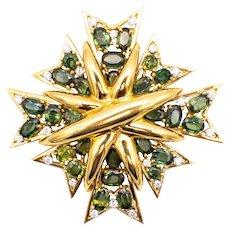 Verdura 18 kt yellow gold Maltese brooch pendant with 31.1 Ctw diamonds & tourmaline