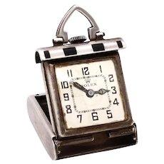 Rolex 1930's Art Deco travel desk clock in sterling silver and black enamel