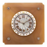 Cartier 1935 Paris rare Art deco desk clock in 18 kt gold with agate and diamonds with box