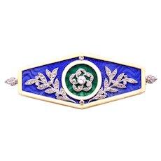 Lucien Gautrait 1900 France 18 kt gold & platinum brooch with diamonds & enamel