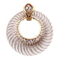 Andre Vassort 1970 Paris 18 kt gold pendant with 2.75 Cts in diamonds and rock quartz