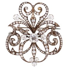 France 1810 Georgian rare oversized brooch in .830 silver with quartz & paste