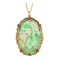 Art Deco 1930 pendant brooch in 14 kt gold with enamel, carved jade and seeds pearls