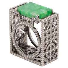 Dickson Yewn geometric ring in 18 kt white gold with 12.33 Ctw in diamonds & jadeite