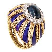Buccellati 1960 Milano 18 kt gold ring with enamel 1.84 Ctw sapphires & diamonds