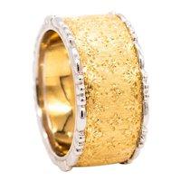 Buccellati Milano 18 kt yellow & white brushed gold 10.4 mm ring band