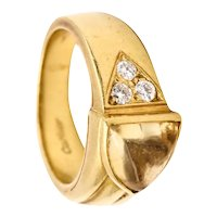 Cartier vintage ring in 18 kt gold with 1.78 Ctw in vs diamonds & citrine