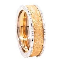 Buccellati Milano 18 kt rose & white brushed gold 7 mm ring band