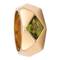 "Hermes Paris 18 kt gold rare ""Carnavale"" geometric ring with peridot"