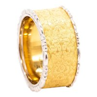 Buccellati Milano 18 kt yellow & white brushed gold 10 mm ring band