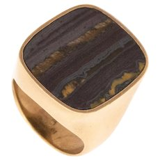 Gucci 1980 Paris tom ford 18 kt yellow gold signet ring with Ironstone Gemstone