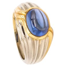 Bvlgari Roma ring in two tones of 18 kt gold with a 4.05 cts Ceylon sapphire