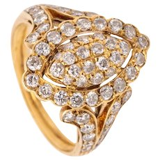 Cartier Paris cocktail ring in 18 kt yellow gold with 1.86 cts in VS diamonds
