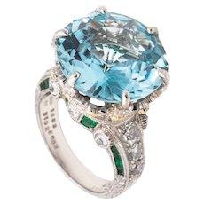 Mitsuo Kaji rare platinum cocktail ring with 21.13 Cts in diamonds emerald & aquamarine