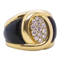 Van Cleef & Arpels 1970 Paris cocktail ring in 18 kt yellow gold with wood and VS diamonds