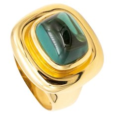 Tiffany & Co. Paloma Picasso 18 kt gold cocktail ring with rare 9.86 Cts blue-green tourmaline