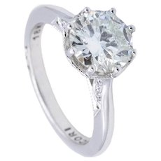 Tacori engagement solitaire ring in 18 kt white gold with 1.74 Cts in diamonds