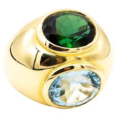 Tiffany & Co. by Paloma Picasso 18 kt cocktail ring with 12.12 Ctw aquamarine and tourmaline