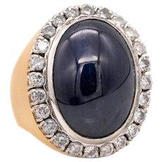Cocktail ring in 18 karat & platinum with 60.87 Ctw in blue sapphire & diamonds