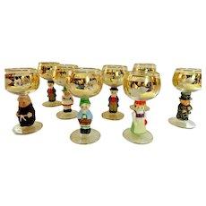 Vintage Goebel Figurine Set of 8 Wine Glasses, 14K Gold Trim, Hummel - Germany