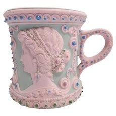 Antique Pink Jasperware Cameo Shaving Mug - Schafer Vater - German - Art Nouveau