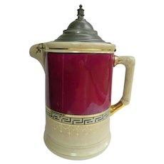 "Antique Wheeling Pottery Pat. 1882 Stoneware Water Jug w/ Pewter Lid - 12"" Tall"