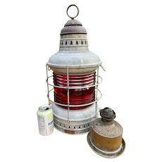 Vintage Nautical PERKO Maritime Ship Oil Lantern Lamp w/ Burner - Red Lens - LARGE 21""