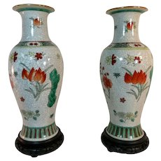 Antique  Pair Chinese Porcelain Craquelure Vases w/ Wooden Bases - Early 20th c