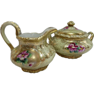 Antique NIPPON Cream & Sugar Set - Gold Gilt Moriage - Hand Painted Floral